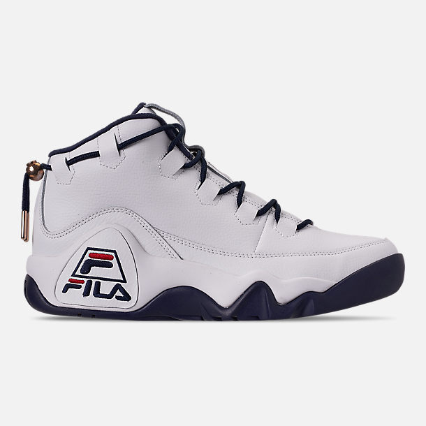Right view of Men's Fila 95 Primo Basketball Shoes in White/Navy/Red