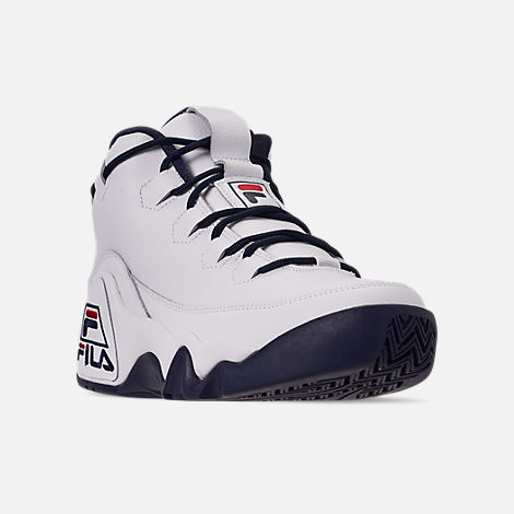 Three Quarter view of Men's Fila 95 Primo Basketball Shoes in White/Navy/Red