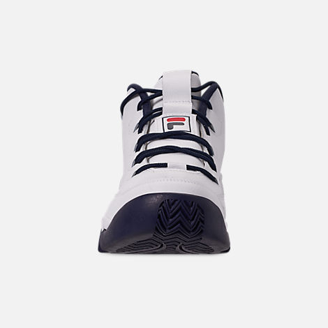 Front view of Men's Fila 95 Primo Basketball Shoes in White/Navy/Red
