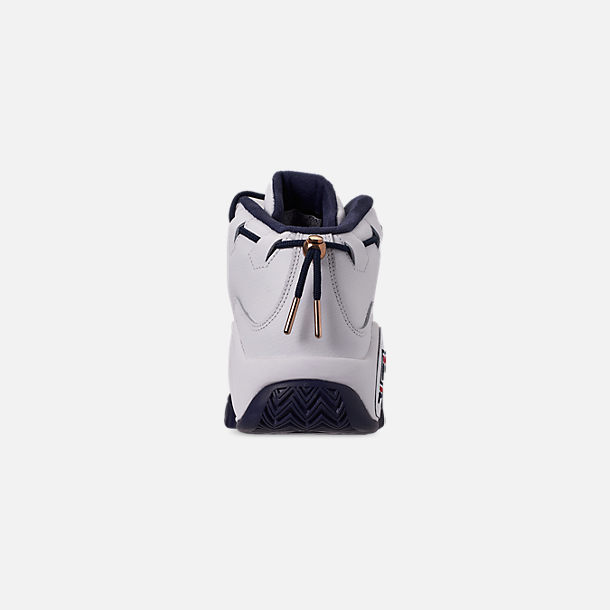 Back view of Men's Fila 95 Primo Basketball Shoes in White/Navy/Red