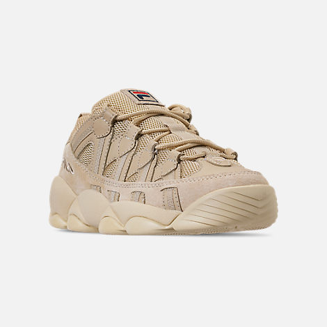 Three Quarter view of Men's FILA Spaghetti Low Basketball Shoes in Tan/Cream
