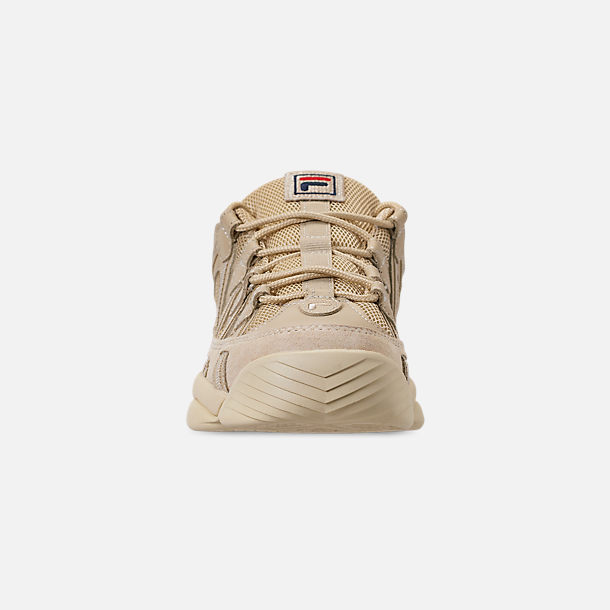 Front view of Men's FILA Spaghetti Low Basketball Shoes in Tan/Cream