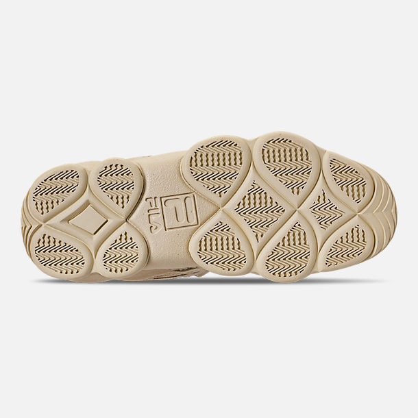 Bottom view of Men's FILA Spaghetti Low Basketball Shoes in Tan/Cream