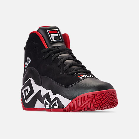 Three Quarter view of Men's FILA MB Basketball Shoes in Black/White/Red