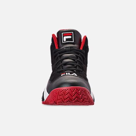 Front view of Men's FILA MB Basketball Shoes in Black/White/Red