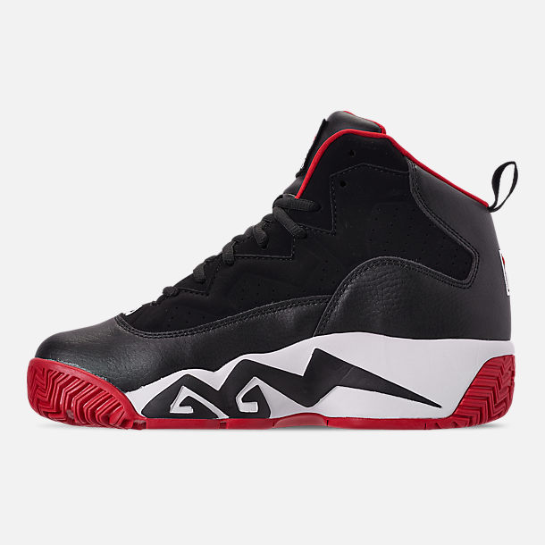 Left view of Men's FILA MB Basketball Shoes in Black/White/Red