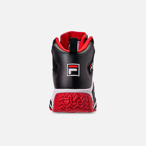 Back view of Men's FILA MB Basketball Shoes in Black/White/Red