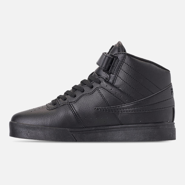 Left view of Men's FILA Vulc 13 Mid Plus Casual Shoes in Black