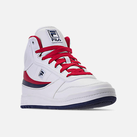 Three Quarter view of Men's Fila BBN 84 NS Casual Shoes in White/Footwear Navy/Red