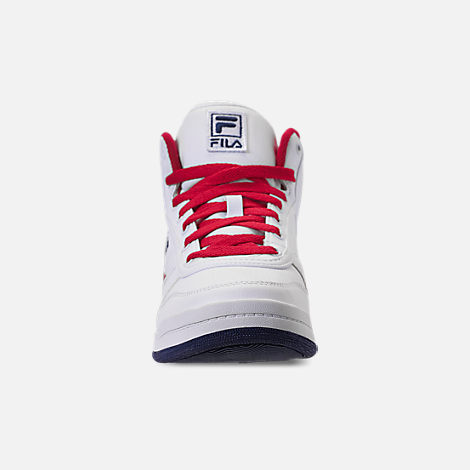 Front view of Men's Fila BBN 84 NS Casual Shoes in White/Footwear Navy/Red