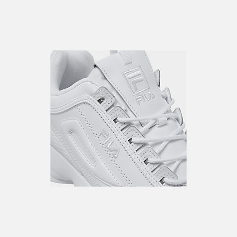 Front view of Men's Fila Disruptor 2 Premium Casual Shoes in White/White