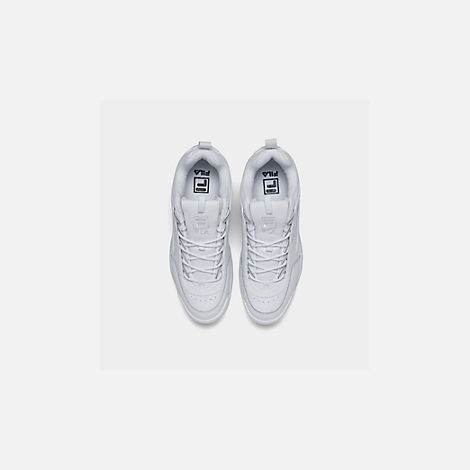 Back view of Men's Fila Disruptor 2 Premium Casual Shoes in White/White