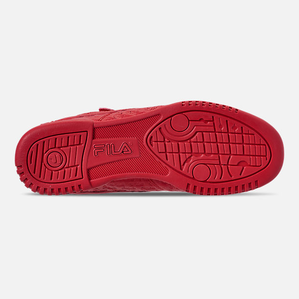 Bottom view of Men's Fila F-13 Small Logo Casual Shoes in Red/Red/Red