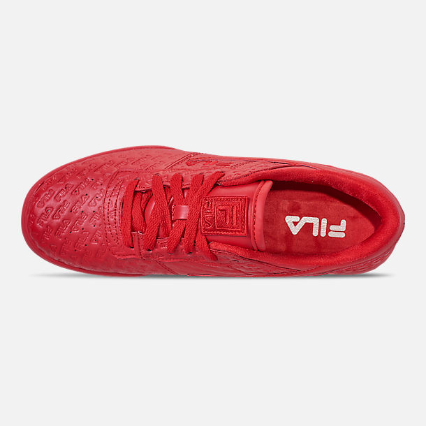Top view of Men's FILA Original Fitness Small Logo Casual Shoes in Red/Red/Red