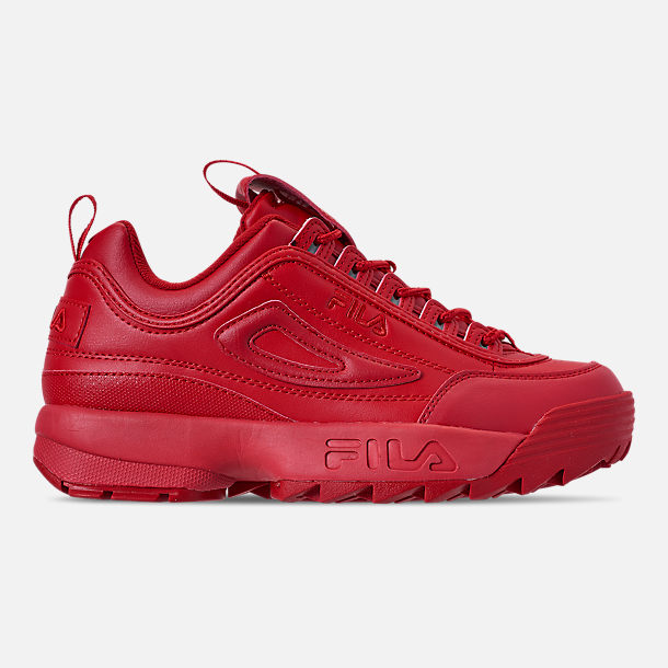Right view of Men's Fila Disruptor 2 Premium Casual Shoes in Red/Red/Red