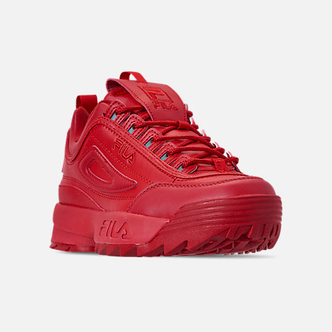 Three Quarter view of Men's Fila Disruptor 2 Premium Casual Shoes in Red/Red/Red