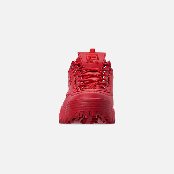 Front view of Men's Fila Disruptor 2 Premium Casual Shoes in Red/Red/Red