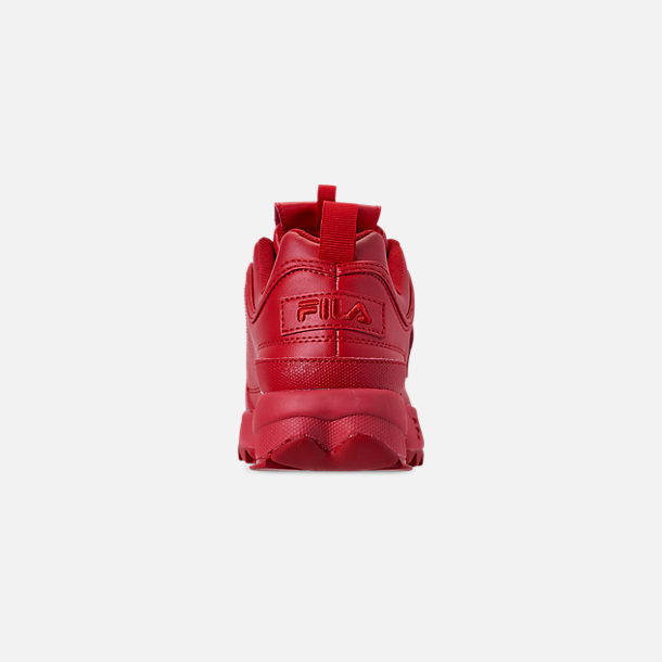 Back view of Men's Fila Disruptor 2 Premium Casual Shoes in Red/Red/Red