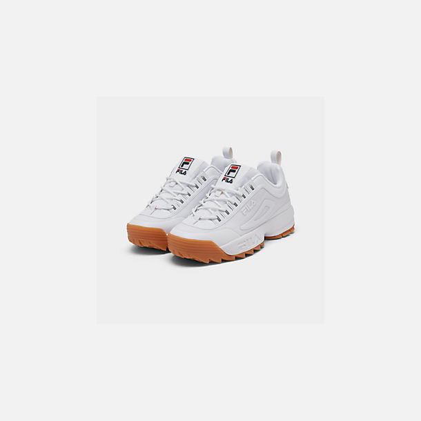 Three Quarter view of Men's Fila Disruptor 2 Premium Shine Casual Shoes in White/Gum