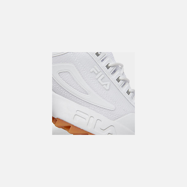 Front view of Men's Fila Disruptor 2 Premium Shine Casual Shoes in White/Gum