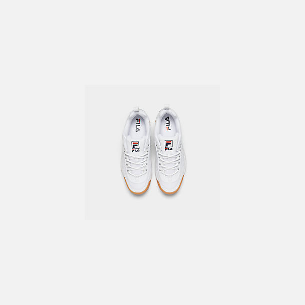 Back view of Men's Fila Disruptor 2 Premium Shine Casual Shoes in White/Gum