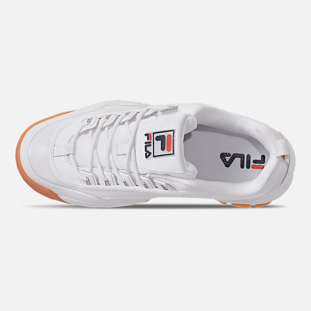 Top view of Men's Fila Disruptor 2 Premium Shine Casual Shoes in White/Gum