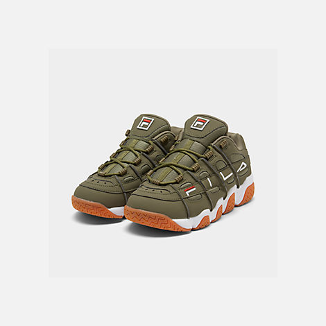 Three Quarter view of Men's Fila Barricade XT Low Gum Casual Shoes in Khaki Green/White