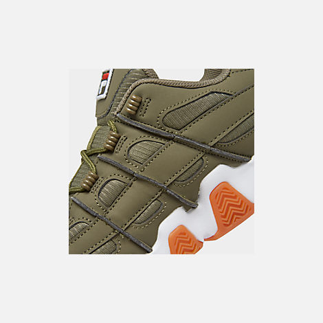 Front view of Men's Fila Barricade XT Low Gum Casual Shoes in Khaki Green/White
