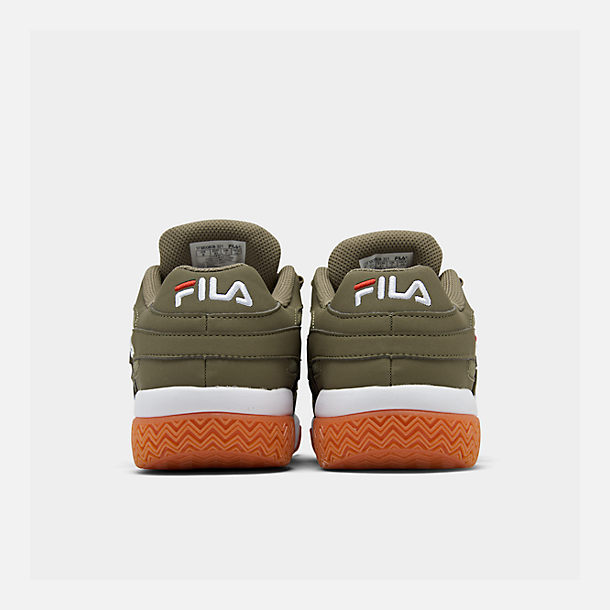 Left view of Men's Fila Barricade XT Low Gum Casual Shoes in Khaki Green/White