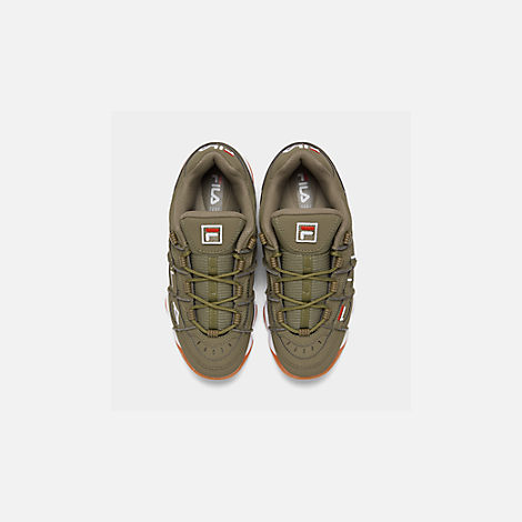 Back view of Men's Fila Barricade XT Low Gum Casual Shoes in Khaki Green/White