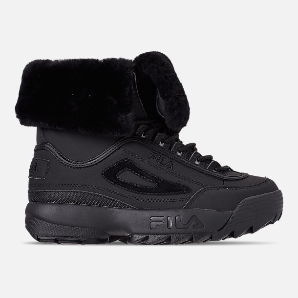 Right view of Men's Fila Disruptor Shearling Boots in Triple Black