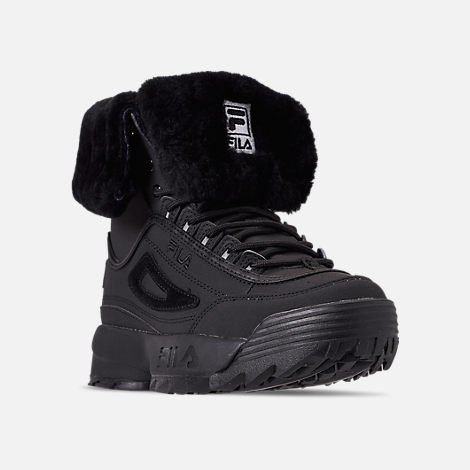 Three Quarter view of Men's Fila Disruptor Shearling Boots in Triple Black