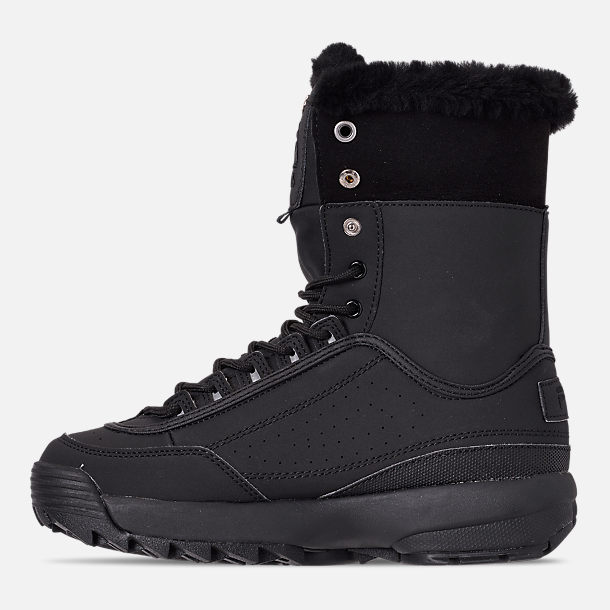 Left view of Men's Fila Disruptor Shearling Boots in Triple Black