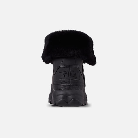 Back view of Men's Fila Disruptor Shearling Boots in Triple Black
