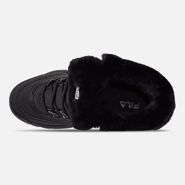 Top view of Men's Fila Disruptor Shearling Boots in Triple Black