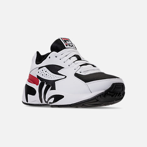 Three Quarter view of Men's Fila Mindblower Casual Shoes in White/Black/Red