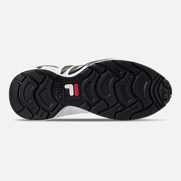 Bottom view of Men's Fila Mindblower Casual Shoes in White/Black/Red