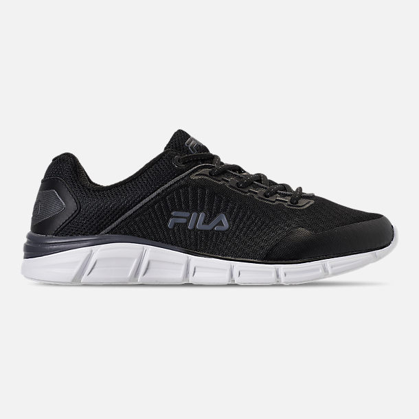 Right view of Men's Fila Memory Countdown 5 Running Shoes in Black/Castlerock Grey/White
