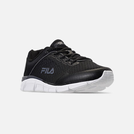 Three Quarter view of Men's Fila Memory Countdown 5 Running Shoes in Black/Castlerock Grey/White