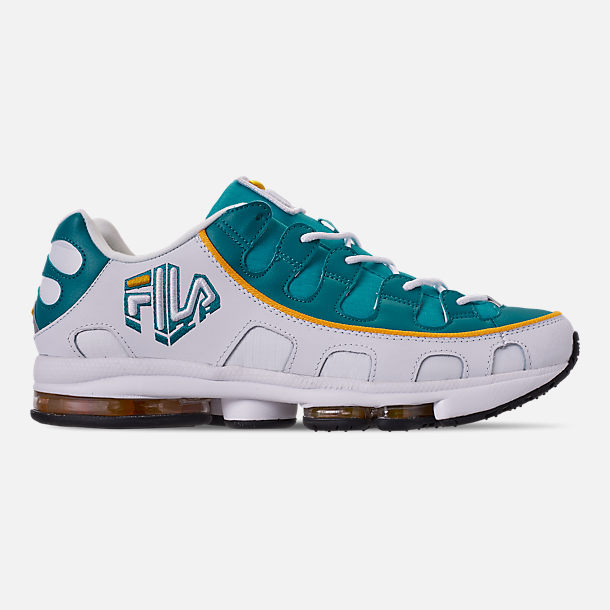 abe36d6ebb2 Right view of Men s Fila Silva Trainer Running Shoes in White Teal Yellow