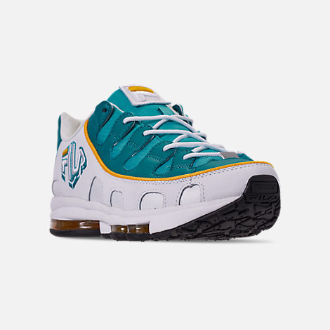 509fcbca9b3f Three Quarter view of Men s Fila Silva Trainer Running Shoes in  White Teal Yellow