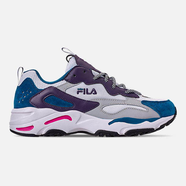Right view of Men's FILA Ray Tracer Casual Shoes in White/Ink Blue/Purple Pennant