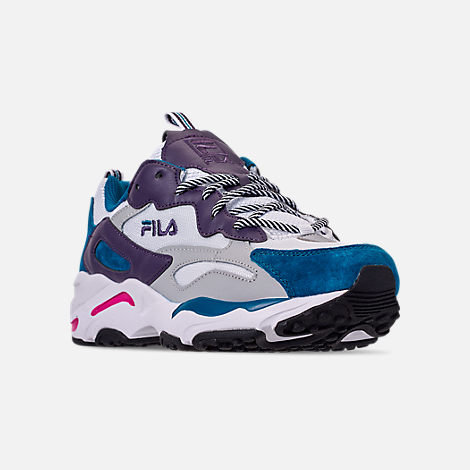 Three Quarter view of Men's FILA Ray Tracer Casual Shoes in White/Ink Blue/Purple Pennant