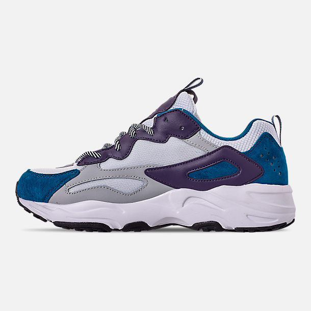 Left view of Men's FILA Ray Tracer Casual Shoes in White/Ink Blue/Purple Pennant