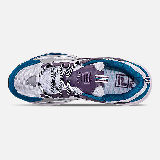 Top view of Men's FILA Ray Tracer Casual Shoes in White/Ink Blue/Purple Pennant