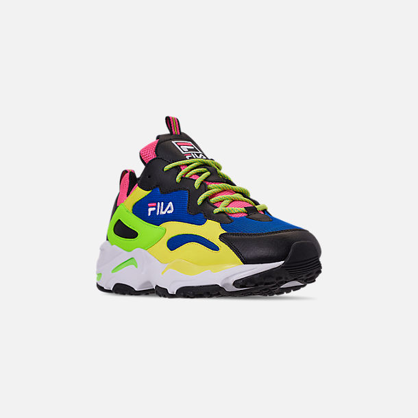 Three Quarter view of Men's Fila Ray Tracer 90S QS Casual Shoes in Black/Lime/Green/Pink/Blue/White