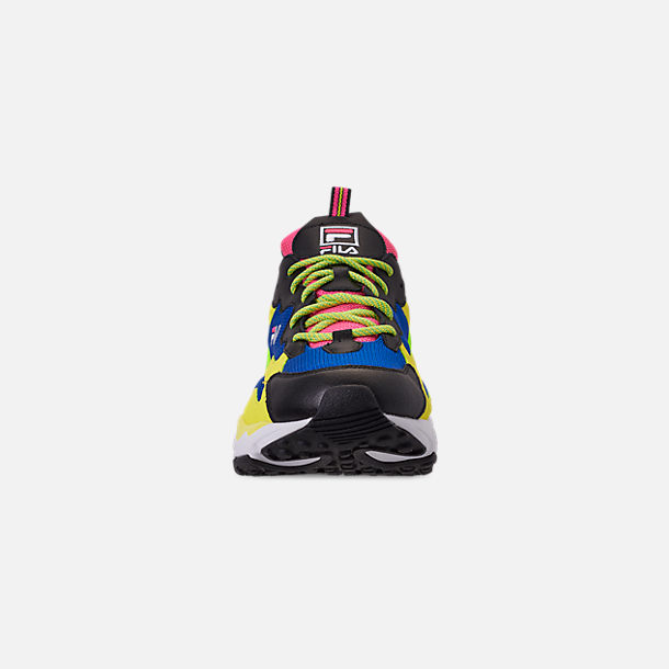 Front view of Men's Fila Ray Tracer 90S QS Casual Shoes in Black/Lime/Green/Pink/Blue/White
