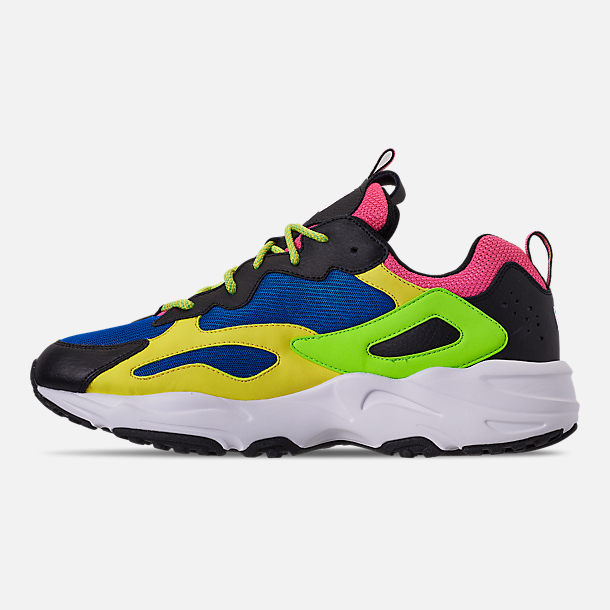 Left view of Men's Fila Ray Tracer 90S QS Casual Shoes in Black/Lime/Green/Pink/Blue/White