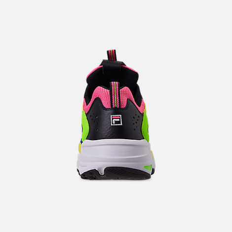 Back view of Men's Fila Ray Tracer 90S QS Casual Shoes in Black/Lime/Green/Pink/Blue/White