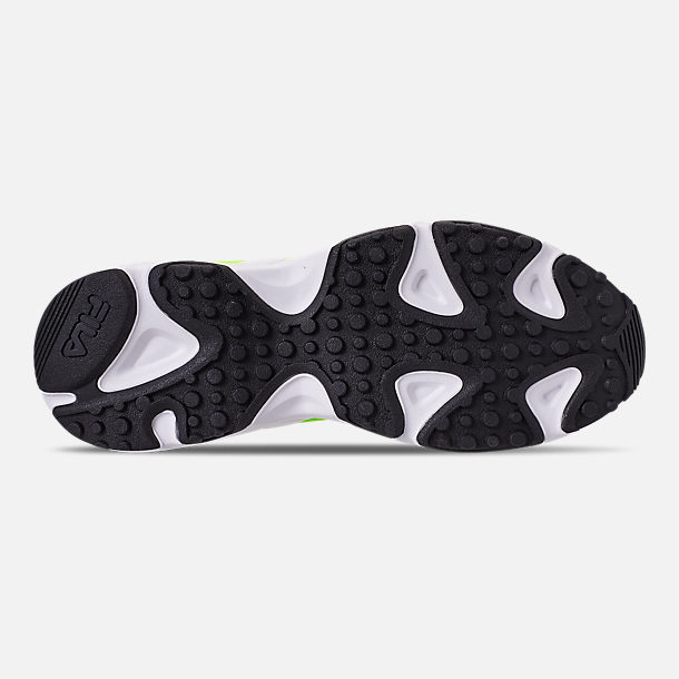 Bottom view of Men's Fila Ray Tracer 90S QS Casual Shoes in Black/Lime/Green/Pink/Blue/White